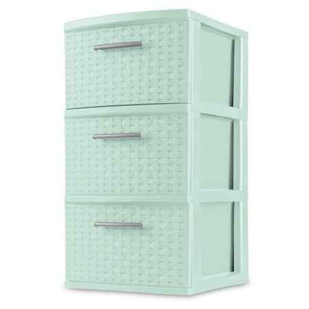 Sterilite, 3 Drawer Weave Tower, Classic Mint, Case of 2 ()