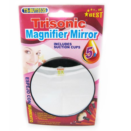 Magnifier Mirror Suction Cup 5x Trisonic Makeup Shaving Cosmetic Face Care Shave