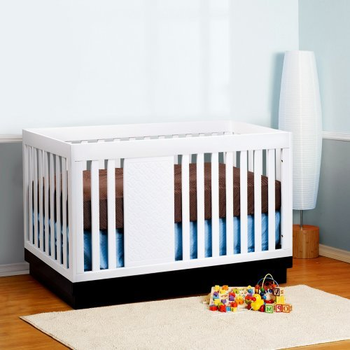 Babyletto Harlow 3 in 1 Convertible Crib - White/Navy