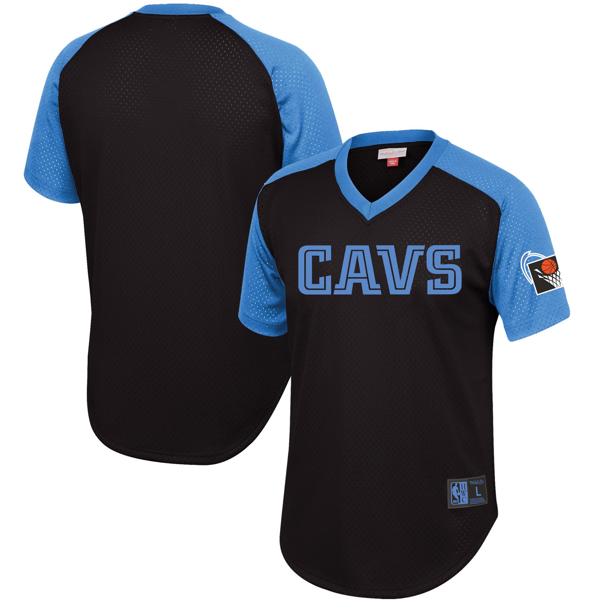 Cleveland Cavaliers Mitchell & Ness Hardwood Classics Final Seconds Mesh Raglan Sleeve V-Neck T-Shirt - Black