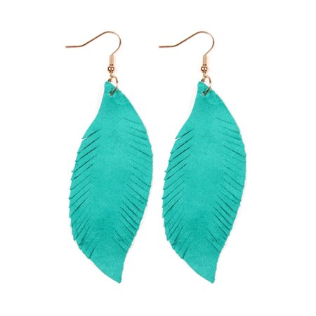Riah Fashion Fringe Suede Leather Drop Earrings