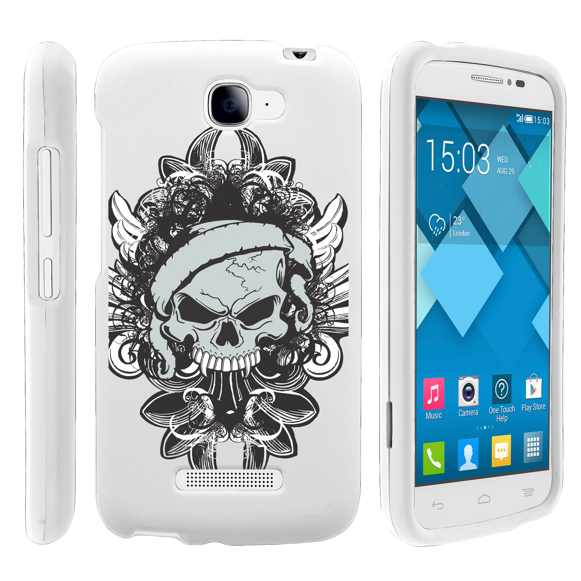 Alcatel Fierce 2, Pop Icon, 7040T, and A564C, [SNAP SHELL][White] 2 Piece Snap On Rubberized Hard White Plastic Cell Phone Case with Exclusive Art -  Demon Skull