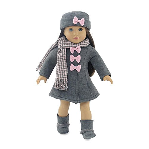18 Inch Doll Clothes | Lovely Grey and Pink Coat Outfit, Includes Incredible Matching Hat... by Emily Rose Doll Clothes