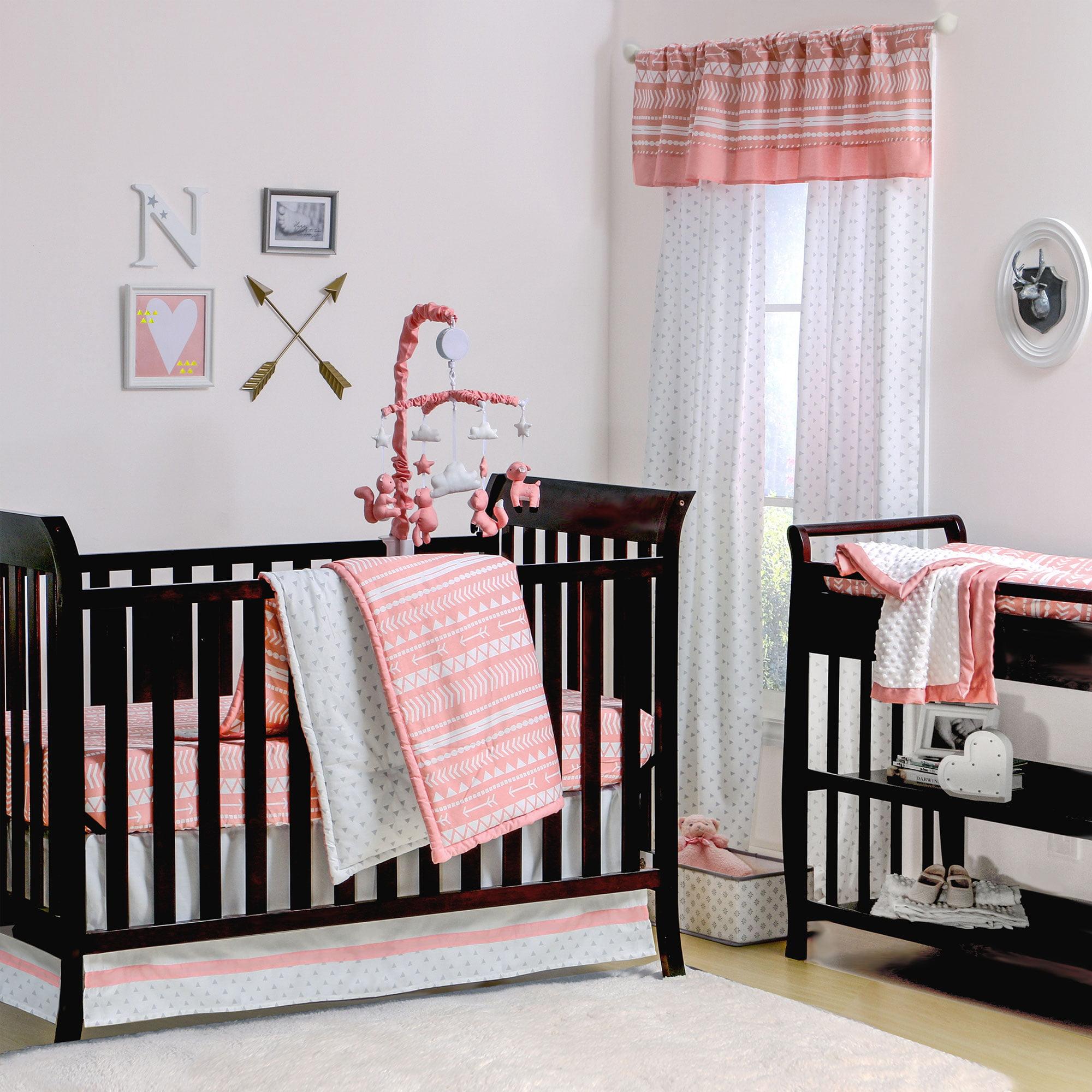 Peanut Shell 4 Piece Baby Girl Crib Bedding Set - Coral P...