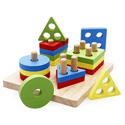 rolimate wooden educational preschool shape color recognition geometric board block stack sort chunky puzzle toys, birthday gift toy for age 3 4 5 years old and up kid children bJy toddler boy girl Shape Puzzle Board