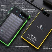 20000mAh Wireless Solar Power Bank 2 USB LED Portable Waterproof Battery Charger with Phone Holder