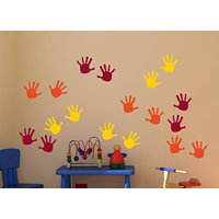 Handprint Vinyl Wall Decals Sticker, Great for Classroom, Daycares and Preschool, Orange/Yellow/Red, 18 Piece