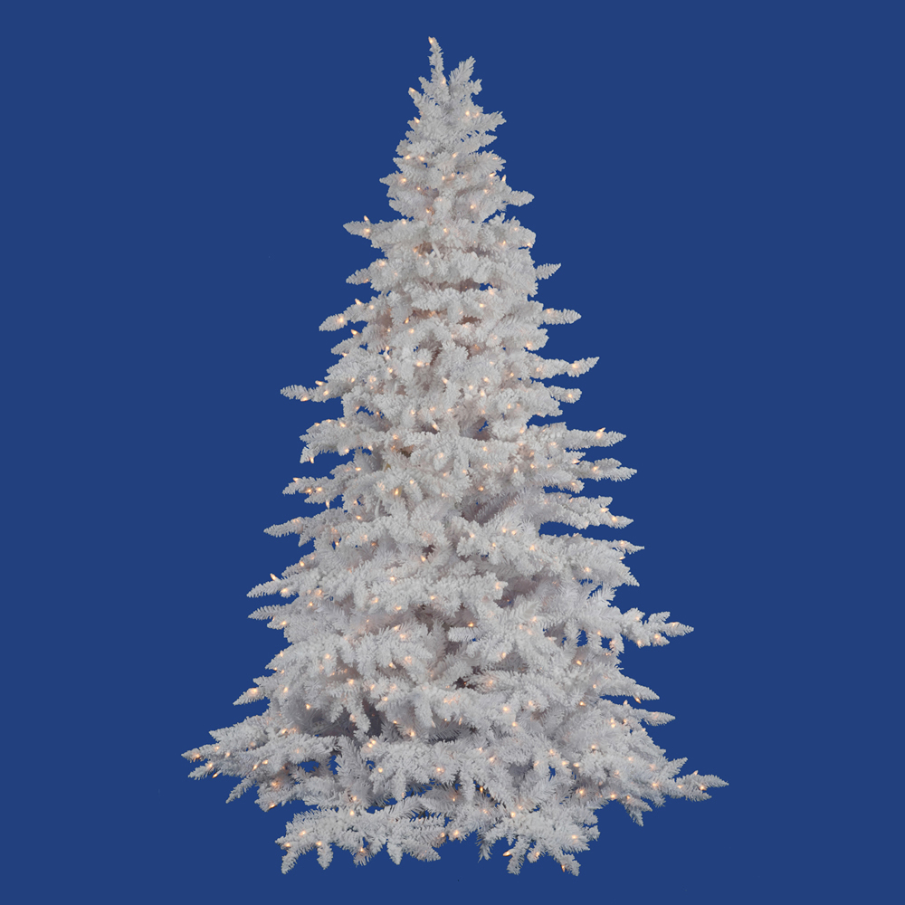14' Pre-Lit Flocked White Spruce Full Artificial Christmas Tree - Clear LED