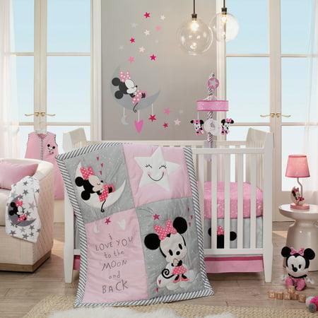 Disney Baby Minnie Mouse Pink 4 Piece Nursery Crib Bedding