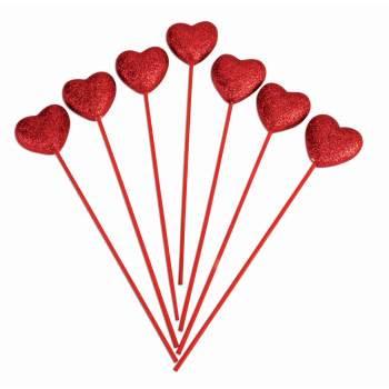 VALENTINES GLITTER HEART PICKS 12 PACK