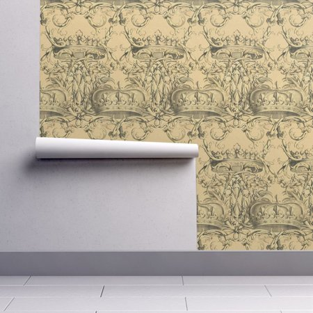 - Wallpaper Roll or Sample: Crown Royal Rococo Baroque Damask Parchment