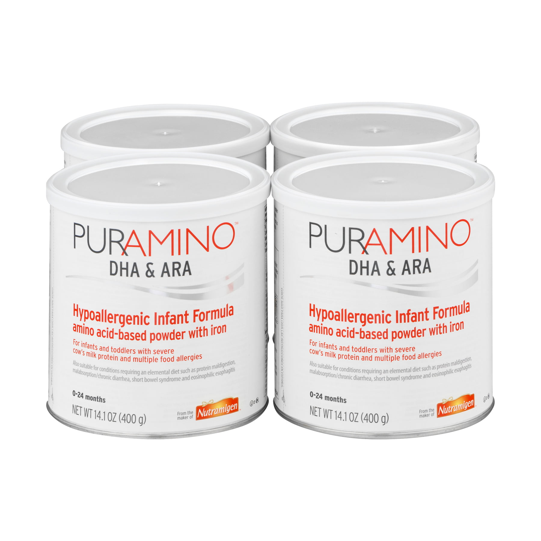 PurAmino DHA and ARA Hypoallergenic Infant Formula, Powder, 14.1 oz Cans, Case of 4 by PurAmino