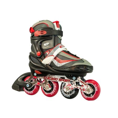 Chicago Kids' Adjustable Inline Skates Red/Black/Gray JR Skates, Size 1-4 (Chicago Skates Kids)
