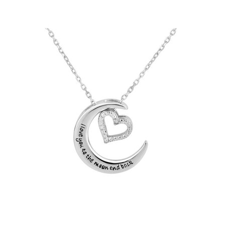 Sterling Silver Crescent Moon with Diamond Accent Heart Charm Interchangable Necklace 18 Inch ()