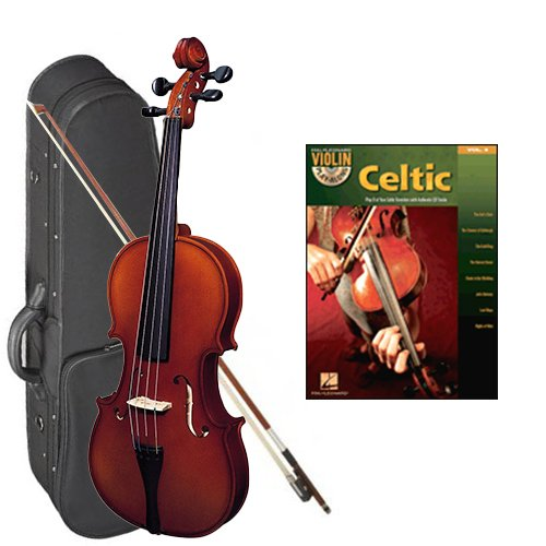 Strunal 220 Student Violin Celtic Series Play Along Pack - 1/2 Size European Violin w/Case & Play Along Book