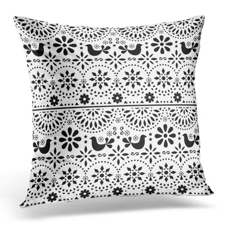 ECCOT Mexican Folk with Birds and Flowers Black and White Fiesta Design Inspired by Traditional Form Mexico Pillowcase Pillow Cover Cushion Case 20x20 inch - Fiesta Flowers