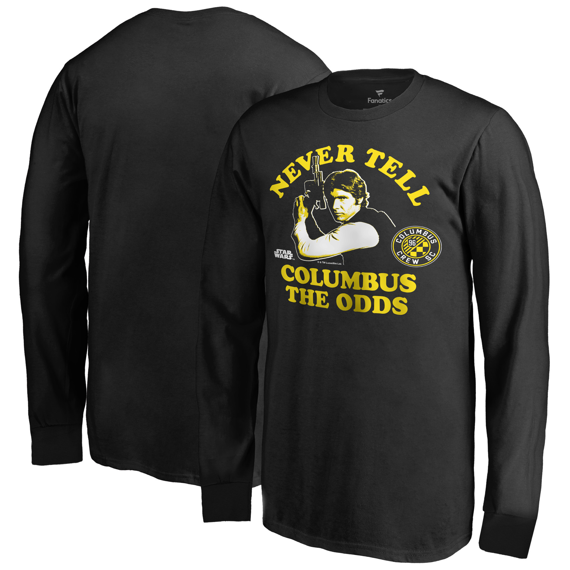 Columbus Crew SC Fanatics Branded Youth Star Wars Never Tell the Odds Long Sleeve T-Shirt - Black
