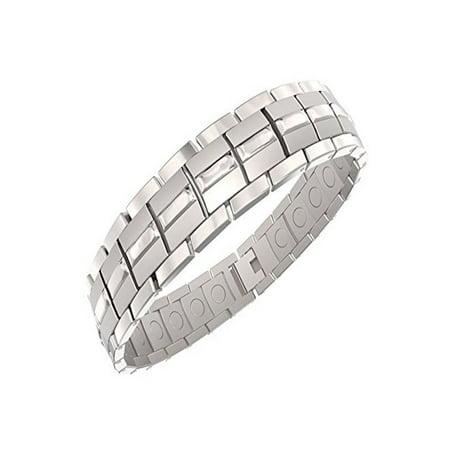 Mens Magnetic Titanium Bracelet Silver for Arthritis and Carpel Tunnel, Size Adjuster, Gift Box (7.5) Mens Solid Titanium Bracelets