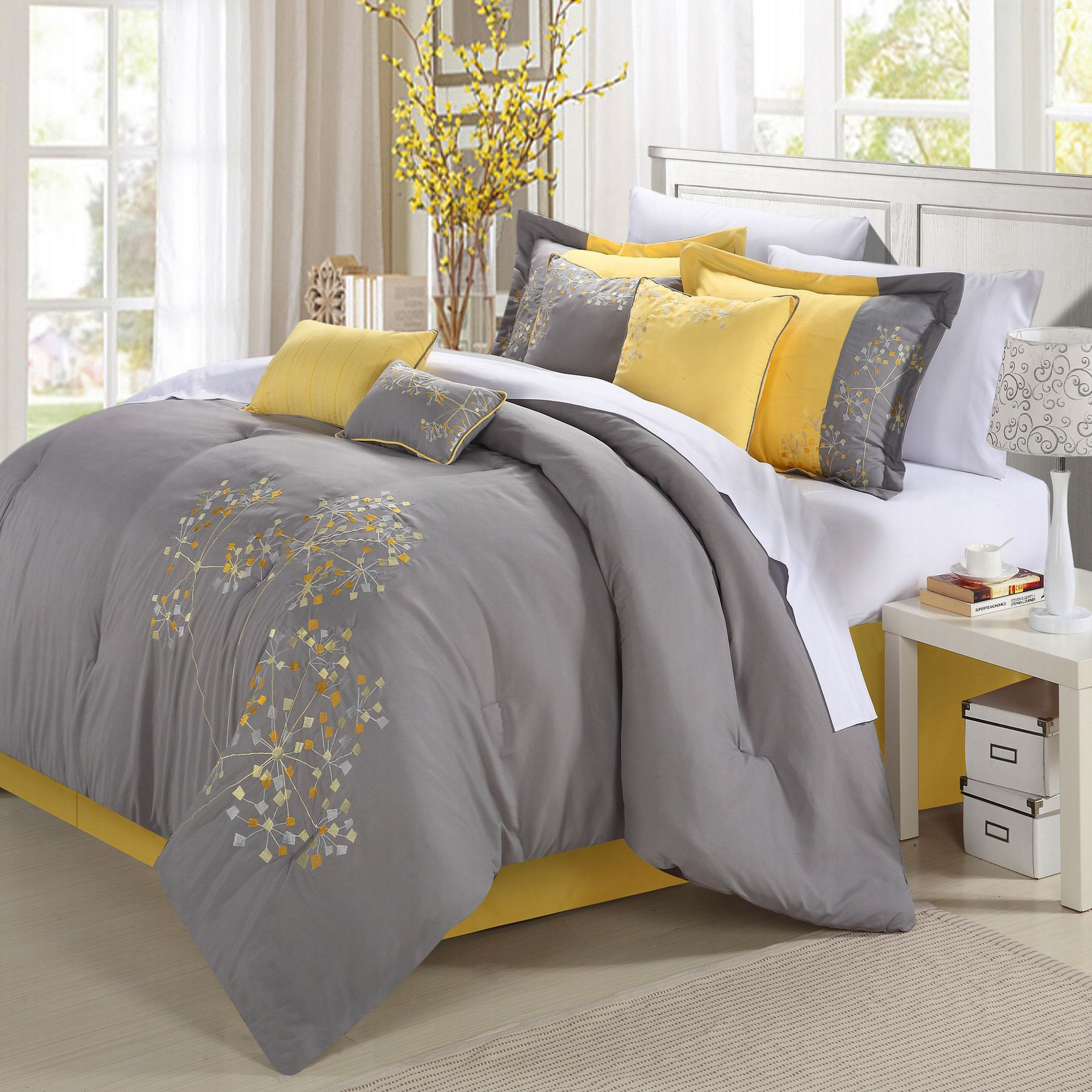 Pink floral Yellow Comforter Bed In A Bag Set 8 piece