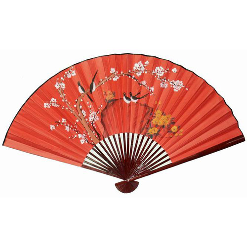 Oriental Furniture Birds on Tree Small Fan Wall D cor