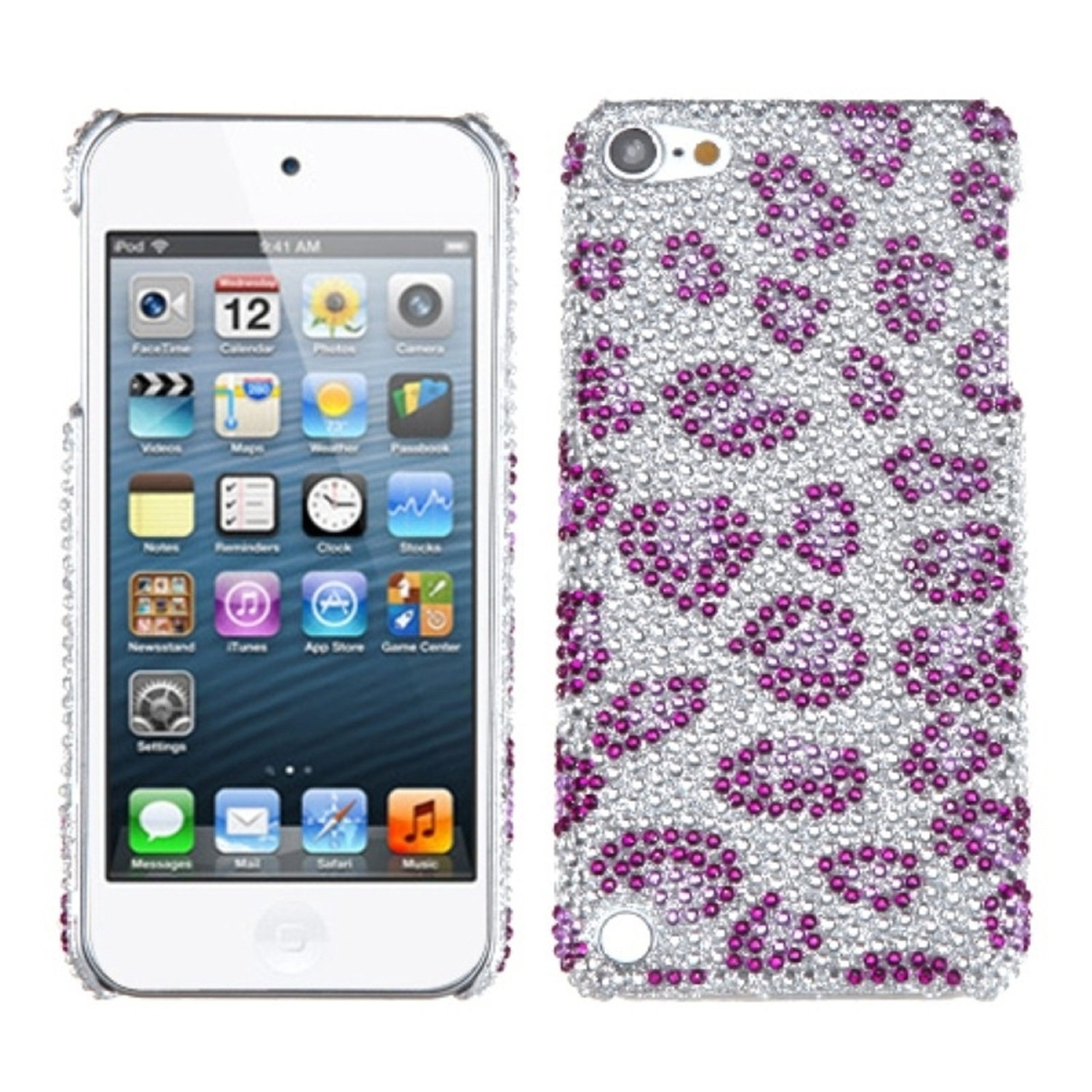 Insten Leopard Skin/Purple Diamante Back Protector Cover Case For iPod Touch 6 6th 5 5th Gen