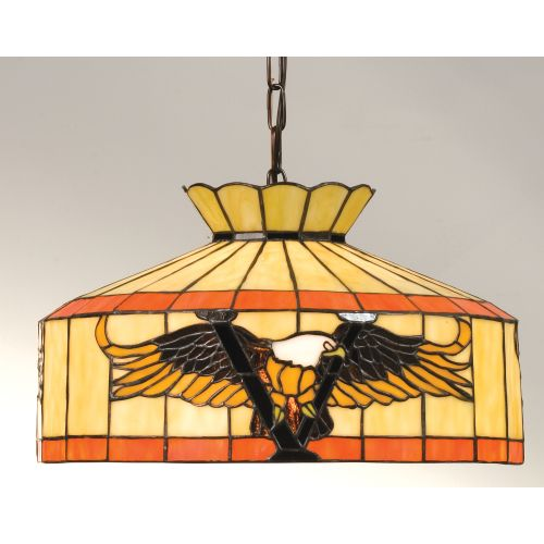 Meyda Tiffany 13872 Stained Glass   Tiffany Down Lighting Pendant from the Victory Eagles Collection by Meyda Tiffany