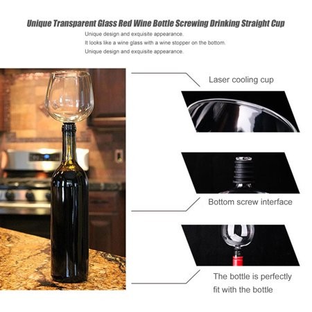 Unique Transparent Glass Red Wine Bottle Screwing Drinking Straight Cup - image 2 de 8