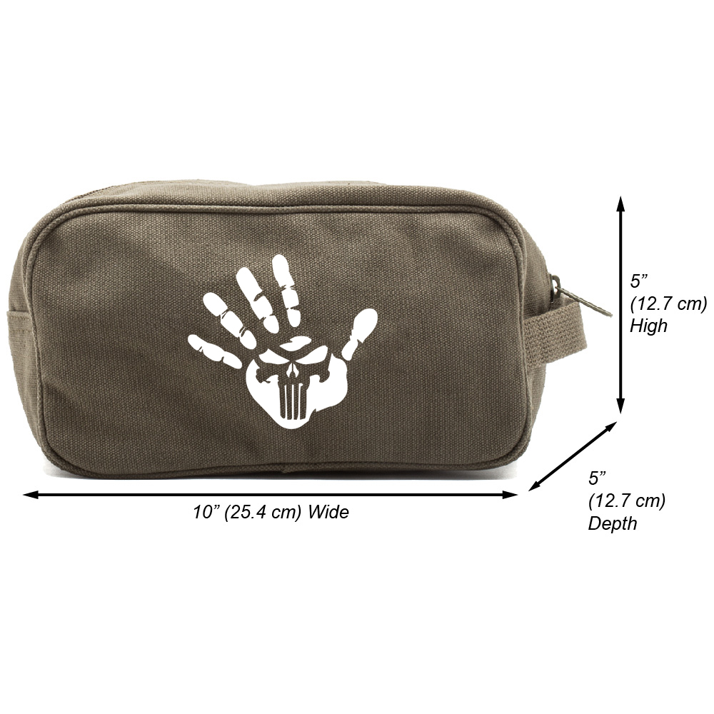 Punisher We Know Handprint Canvas Messenger Shoulder Bag Olive /& Black