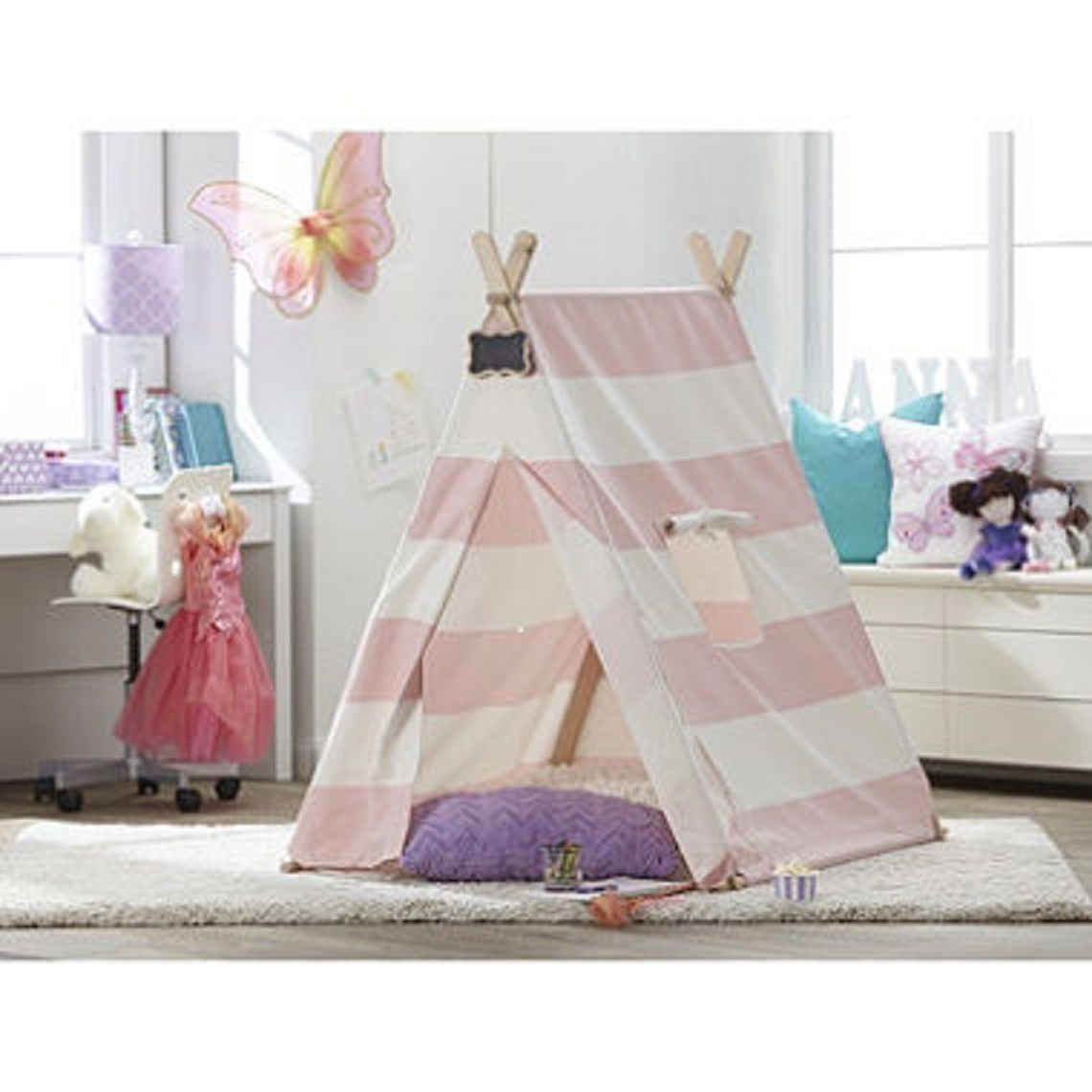 sc 1 st  Walmart & TurtlePlay Kidu0027s Pink Stripe Indoor Teepee Play Tent - Walmart.com