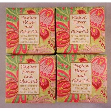- Greenwich Bay Shea Butter Luxury Spa Soap, 1.9 oz Bars, Set of 4 - Passion Flower & Olive Oil
