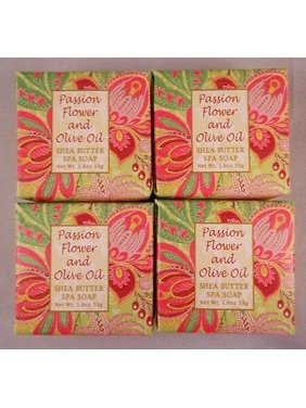 Greenwich Bay Shea Butter Luxury Spa Soap, 1.9 oz Bars, Set of 4 - Passion Flower & Olive Oil