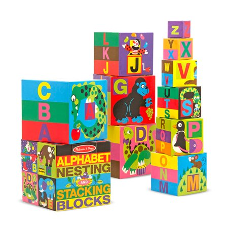 Alphabet Newborn Baby Blocks (Melissa Doug Deluxe 10-Piece Alphabet Nesting and Stacking Blocks)