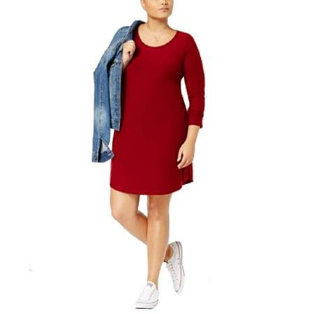 Planet Gold Trendy Plus Size Kylie Printed Dress Wine 3X (Plus Size Club Dresses Size 3x)