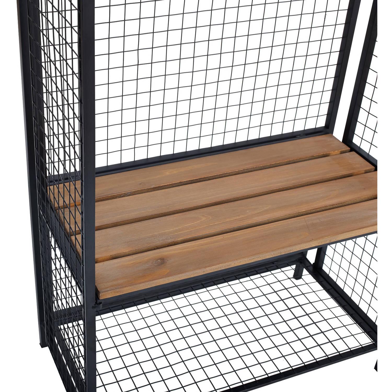 Grid Metal and Wood Locker Coat Rack