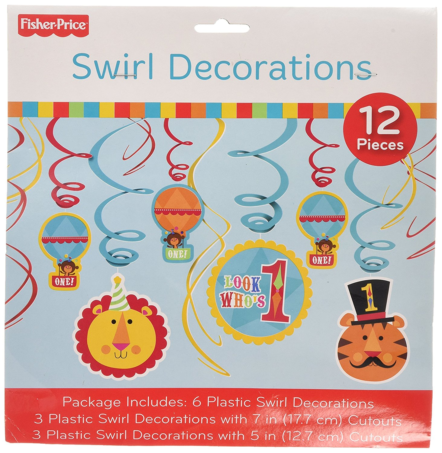 Fisher Price 1st Birthday Circus Hanging Swirl Decorations (12pc)