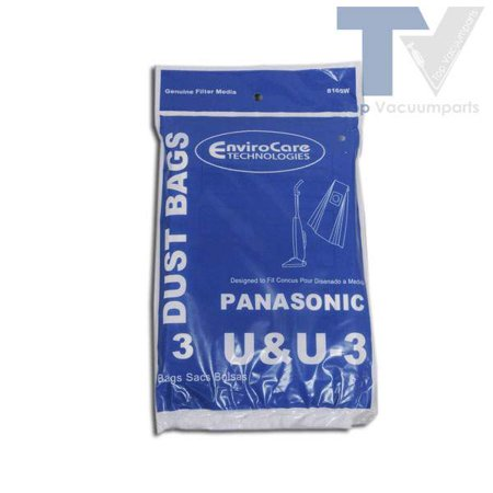 Panasonic Enviro Care Type U and U-3 Upright Vacuum Cleaner Paper Bags 3 Pk // 816SW