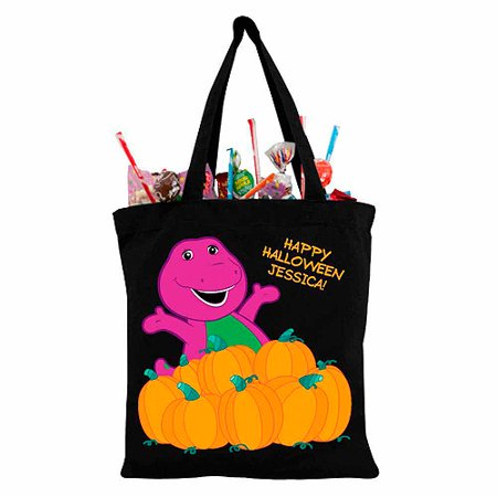 Personalized Barney Happy Halloween Black Trick-or-Treat Bag](Barney Halloween Party Songs)