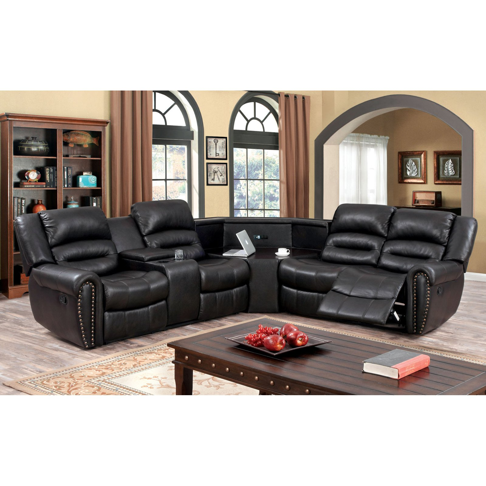 Furniture of America Mcclaran Sectional Sofa with Center Power Access Console