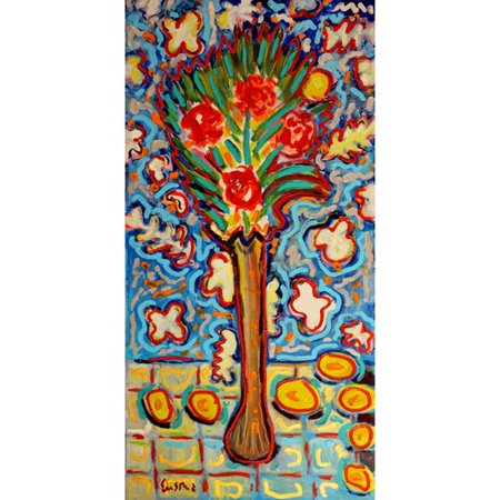 Marmont Hill  Roses In Long Vase  By Wayne Ensrud Painting Print On Canvas