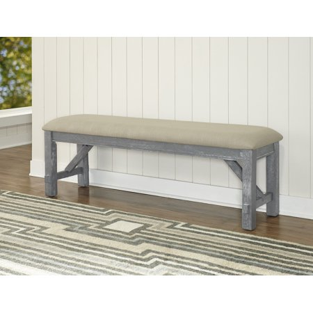 (Powell Turino Upholstered Dining Bench, Grey with Tan Seat)