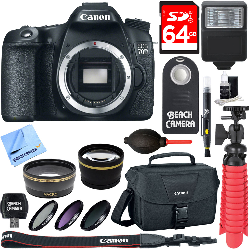 "Canon EOS 70D 20.2 MP CMOS (APS-C) Digital SLR Camera w/ 3"" LCD (Body Only) + Accessory Bundle 64GB SDXC Memory + DSLR Photo Bag + Wide Angle Lens + 2x Telephoto Lens + Flash + Remote + Tripod & More"