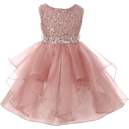 Big Girl Flower Girl Dress Sequin Lace Top Rhinestone Belt & Ruffle Skirt Blush 10 MBK357 (Lace Flower Girl Dresses Vintage)
