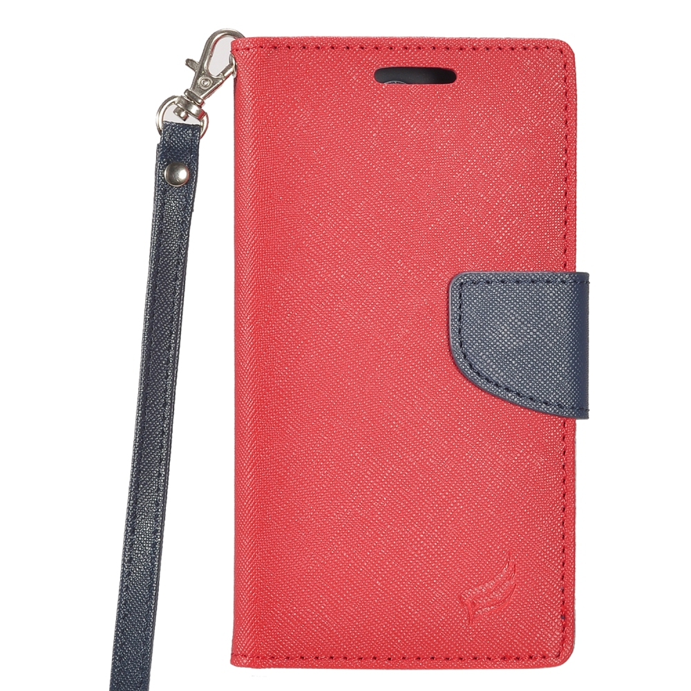 ZTE Majesty Pro / ZTE Majesty Pro Plus Case - Synthetic PU Leather Wallet Carrying Holder Pouch Case with Magnetic Flip Closure Cover - (Red / Blue) and Atom LED