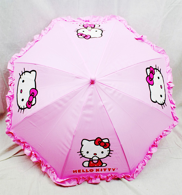 Umbrella Hello Kitty Pink Face Logo with Laces Figure Handle New hek556r by Accessory Innovation