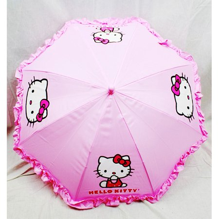 Hello Kitty Ruffle Collapsible Kids Girls Umbrella With 3D (Girl With Umbrella)