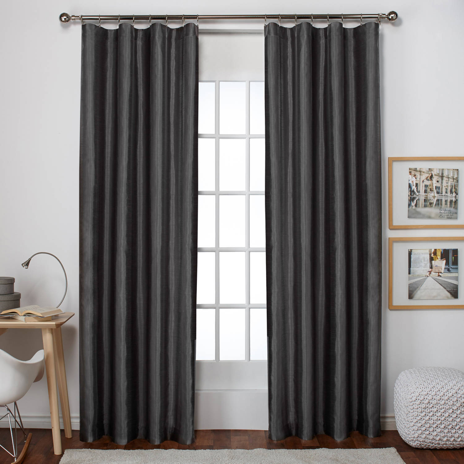 Exclusive Home Bolero Faux Silk Window Curtain Panel Pair with Clip Ring and Rod Pocket Top