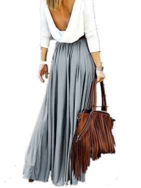 Women Solid Color Casual Ankle-Length Long Skirt