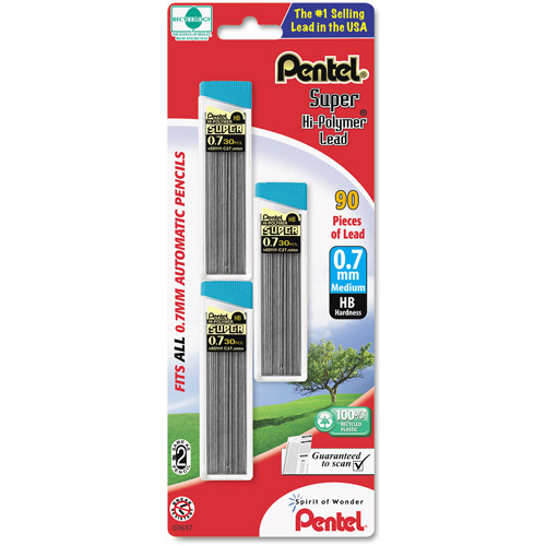 Pentel Super Hi-Polymer 0.7mm Lead Refills, 3 count