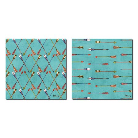 Beautiful Retro Tribal Arrows on Teal; Two 12x12in Poster Prints. Teal/Green/Blue