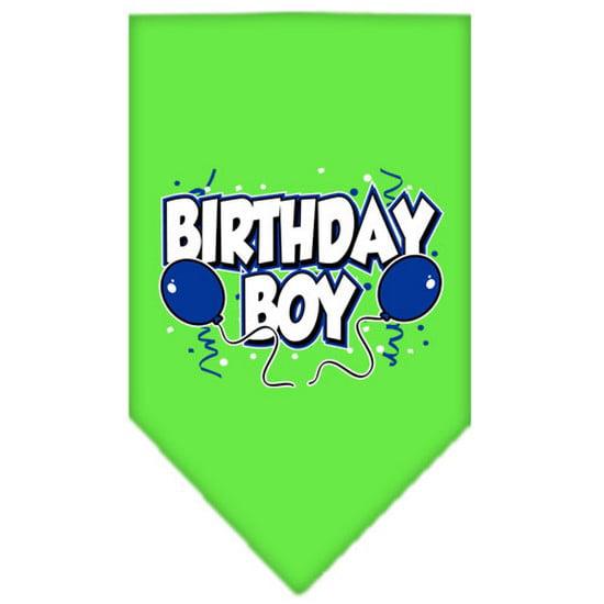 Birthday Boy Screen Print Bandana Lime Green Large